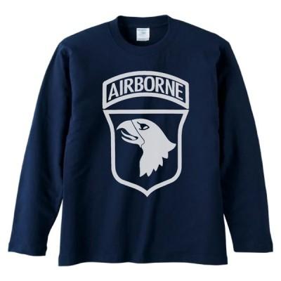 おもしろ デザイン AIRBORNE 長袖 ロングスリーブ Tシャツ ネイビー