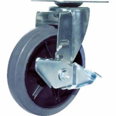 ユーエイ 産業用キャスターS付自在車 150径ゴム車輪 (1個) 品番:RJ2F-150NWRS-G