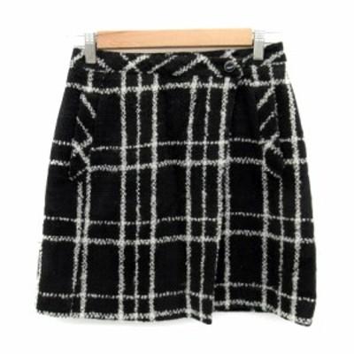 【中古】クイーンズコート QUEENS COURT スカート 台形 ミニ丈 チェック柄 ラップ風 1 黒 ブラック 白 レディース