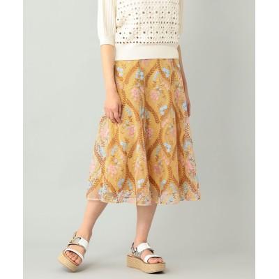 【オンワード】 GRACE CONTINENTAL>スカート リーフフラワー刺繍スカート イエロー 38 レディース 【送料無料】