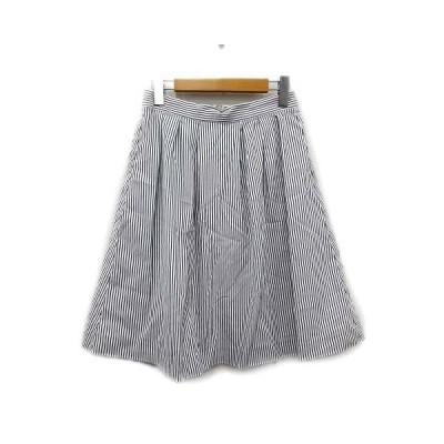 【中古】美品 テチチ Te chichi ストライプ 台形 スカート タック プリーツ イージー M 白 グレー レディース▲6  【ベクトル 古着】