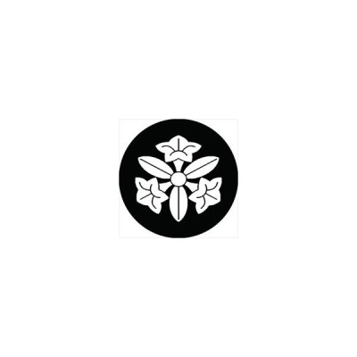 家紋シール 三つ葉桔梗紋 直径15cm 丸型 白紋 KS15M-1563W
