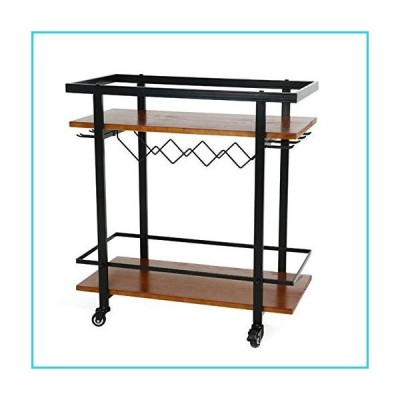 LSJGG Industrial Bar Cart with Wine Rack and Glass Holder, Mobile Wine Carts with Wheels for The Home, Serving Cart and Kitchen Storage Cart