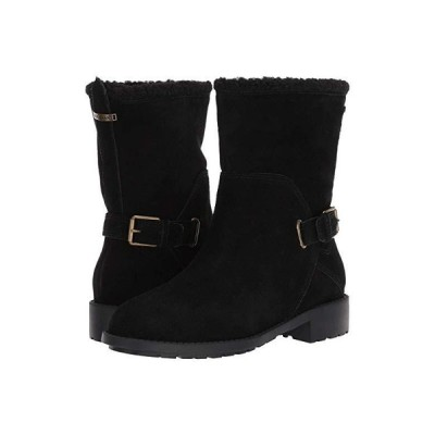 コールハーン Quiana Bootie Waterproof レディース ブーツ Black Suede/Black Shearling/Black/Antique Brass