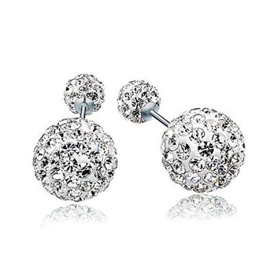 Infinite U 925 Sterling Silver Austria Crystal Pave Disco Ball Studs Earrin
