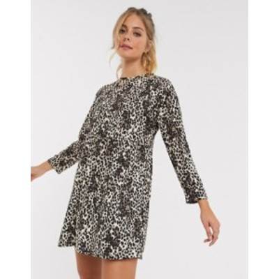 エイソス レディース ワンピース トップス ASOS DESIGN smock mini dress in leopard print Leopard print