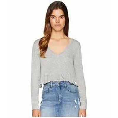 BB Dakota レディーストップス BB Dakota Short & Sweet Sweater Knit Cropped Ruffle Top Heather Grey