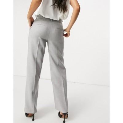 セレクティッド レディース カジュアルパンツ ボトムス Selected Femme wide leg pants in gray Light gray melange