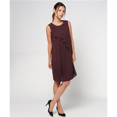 ドレス 【aimer anche】立体チェーン・タック入りラッフルIラインドレス