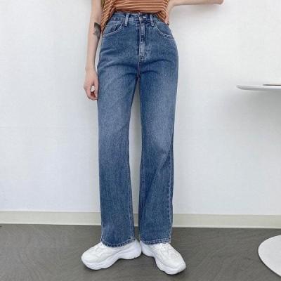 VANILLAMILK レディース ジーンズ Faded Long Wide Denim High Waist Pants 2 Color