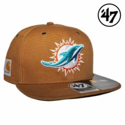 47ブランド カーハート コラボ ストラップバックキャップ 帽子 メンズ レディース 47BRAND CARHARTT NFL マイアミ ドルフィンズ フリーサ