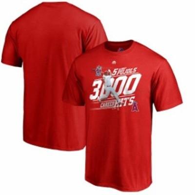 Majestic マジェスティック スポーツ用品  Majestic Albert Pujols Los Angeles Angels Youth Red 3000th Hit Career Achievement Photo