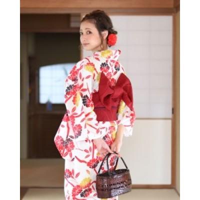 浴衣 レディース浴衣 2点セット(浴衣/帯) 白 ホワイト 赤 レッド 黄色 イエロー 花柄