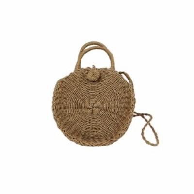 即日配送 ベトナム雑貨 カゴバック ラウンドショルダーバッグ 編みバッグ 夏 オシャレ シンプル