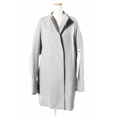 【中古】オートクチュール auto couture コート ノーカラー ウール 40 グレー aan0425 レディース