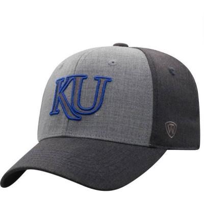 トップオブザワールド メンズ 帽子 アクセサリー Top of the World Men's Kansas Jayhawks Grey Powertrip 1Fit Flex Hat