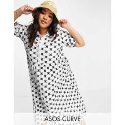 エイソス レディース ワンピース トップス ASOS DESIGN Curve broderie midi tiered shirt dress in mono contrast Mono contrast