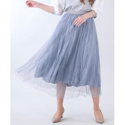 【ブルーイースト】 ワッシャーチュールスカート レディース ブルー M(01) BLUEEAST