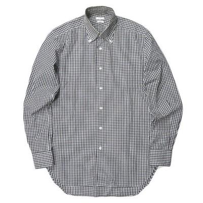 エディフィス EDIFICE 日本製 ギンガムチェックロングスリーブシャツ 37 ホワイト/ブラック 長袖 トップス