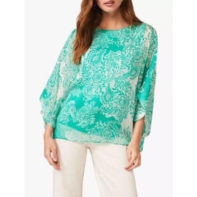 フェイズ・エイト シャツ レディース トップス Phase Eight Colette Paisley Print Silk Blouse, Green/White