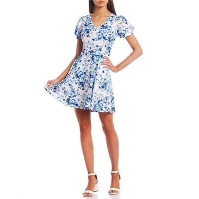 ミッドナイト ドール レディース ワンピース トップス Puff Short-Sleeve V-Neck Floral Print Skater Dress