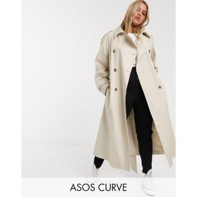 エイソス ASOS Curve レディース トレンチコート ロングコート アウター Curve longline trench coat in stone ベージュ