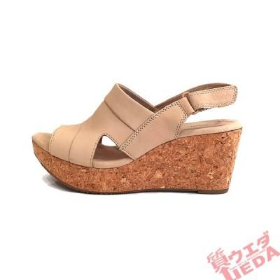 【栄】クラークス サンダル ウエッジソール レザー ベージュ 約23.5cm EU37ハーフ アパレル 女 靴