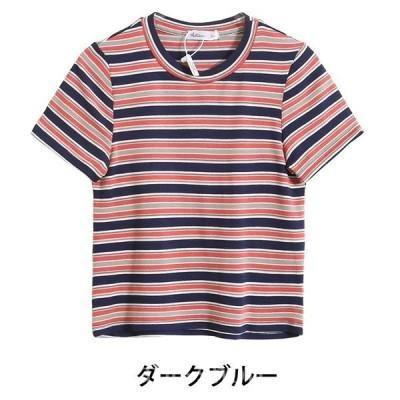 Tシャツレディーストップス春夏半袖ボーダーTシャツレディースコットン秋体型カバー