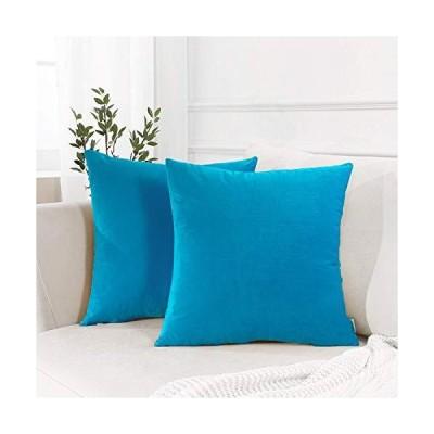Topfinel クッションカバー 45×45 2枚セット 北欧 無地 ブルー お洒落 ベルベット ソファ背当て 装飾枕カバー