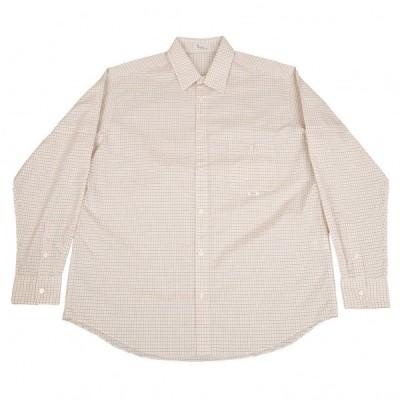 パパスPapas 配色チェックコットンシャツ 白茶黄52LL 【メンズ】