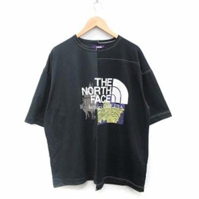 【中古】ノースフェイス パープルレーベル Tシャツ カットソー CRAZY H/S LOGO Tee 五分袖 ロゴ L 黒 NT3009N メンズ
