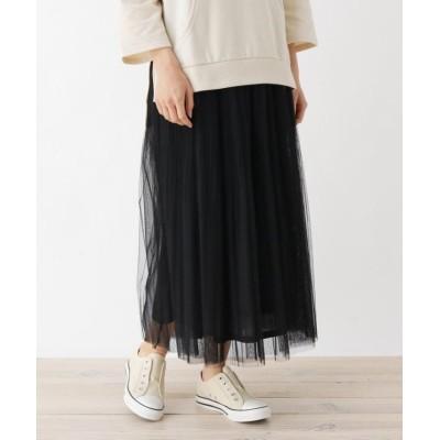 (SHOO・LA・RUE Cutie Blonde/シューラルー キューティーブロンド)【M-L】チュールプリーツマキシスカート/レディース ブラック(019)