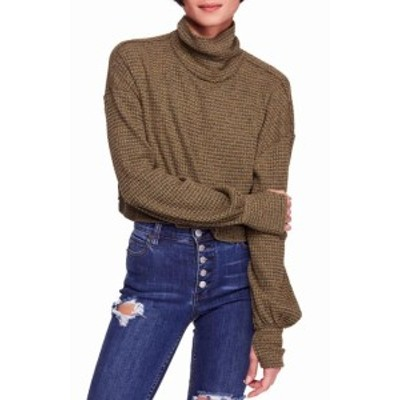 Free People フリーピープル ファッション トップス Free People Green Womens Size Large L Cropped Turtleneck Sweater