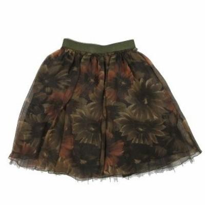 【中古】ロイスクレヨン Lois CRAYON チュール ギャザー レイヤード スカート 茶色 ブラウン サイズM レディース