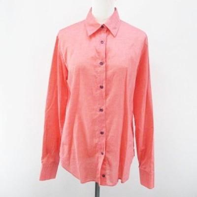 【中古】エトロ ETRO 長袖 シャツ ブラウス 44 ピンク系 イタリア製 ボタン 綿 コットン レディース