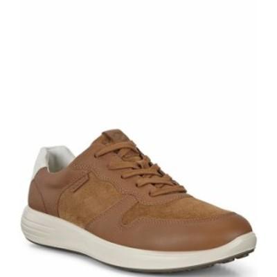 エコー メンズ スニーカー シューズ Men's Soft 7 Runner Suede and Leather Classic Sneakers Camel/Camel/Shadow White
