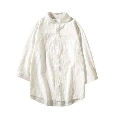 ボタンダウン メンズ 夏 綿麻 5分袖 M-5XL 大きいサイズ ゆったり ワイシャツ 立ち襟 薄手 通気速乾 軽量 快適 柔らかい カジュアルシャツ
