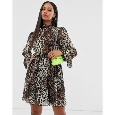 ミスガイデッド レディース ワンピース トップス Missguided high neck smock dress wth tie waist in leopard print Multi