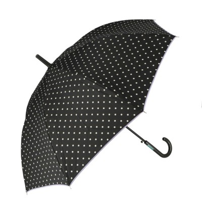 ノーブランド No Brand amusant sous la pluie 60cm 耐風長傘 10mm (17210.ポルカドット_ブラック)