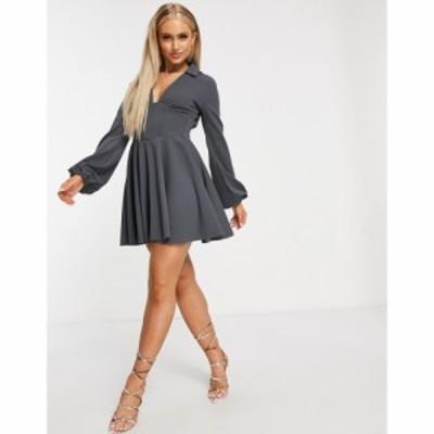 エイソス ASOS DESIGN レディース ワンピース スケータードレス ミニ丈 Corseted Shirt Mini Skater Dress With Ruched Side Detail ダー