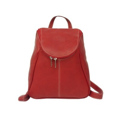 Piel 2466RD Leather Ladies Backpack with Top Handle  Red