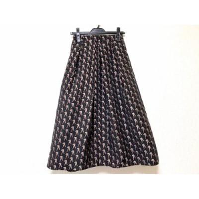 グレースクラス Grace Class ロングスカート サイズ36 S レディース 美品 - 黒×ピンクベージュ×レッド ラメ【中古】20201210