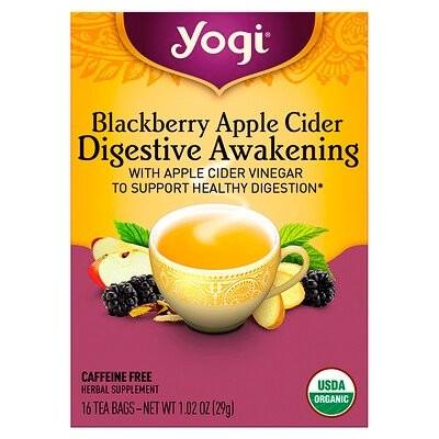Digestive Awakening, Blackberry Apple Cider, Caffeine Free, 16 Tea Bags, 1.02 oz (29 g)