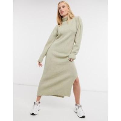 エイソス レディース ワンピース トップス ASOS DESIGN knit midi dress with puff shoulder detail in beige Beige