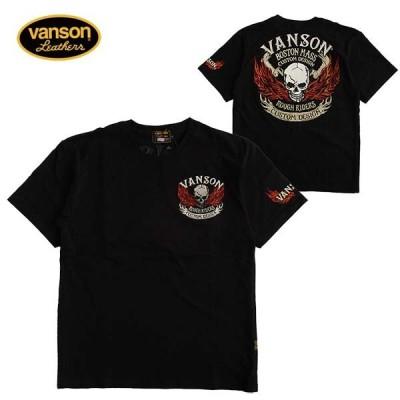 Tシャツ 半袖 メンズ VANSON バンソン スカル 刺繍