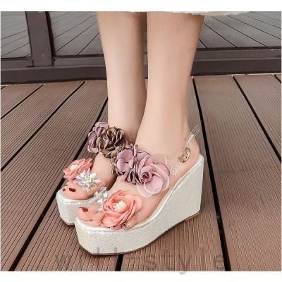 ウエッジソールサンダル花コサージュクリアPVCストラップスパンコール厚底韓国オルチャンかわいいきれいめミュール靴シューズガーリー