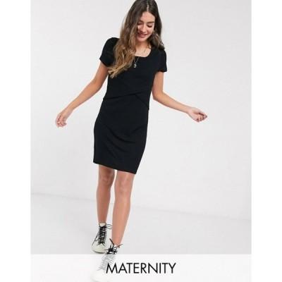 ママライシアス レディース ワンピース トップス Mamalicious Maternity ribbed wrap dress with nursing function in black