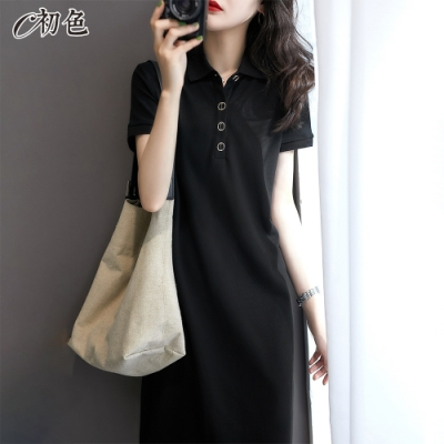 初色  韓系翻領洋裝-黑色-(M-2XL可選)