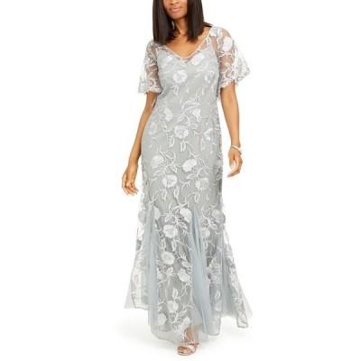 アレックスイブニングス ワンピース トップス レディース Embroidered Gown Silver Grey