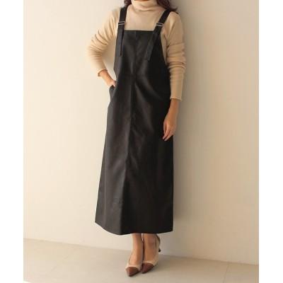 (MODE ROBE/モードローブ)エコレザージャンパースカート/レディース ブラック